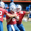 Don Knight | The Herald Bulletin<br /> Andrew Luck, left, and Chandler Harnish, right, swipe at the ball as Matt Hasselbeck runs through a drill during Colts Camp at AU on Wednesday.