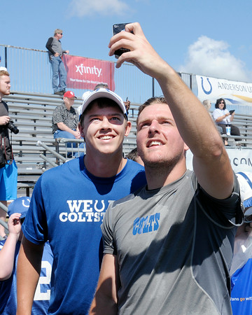 Don Knight | The Herald Bulletin<br /> Punter Pat McAfee takes a selfie for a fan as Colts Camp wrapped up at AU on Wednesday.