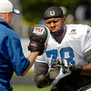John P. Cleary | The Herald Bulletin<br /> Colts tackle Gosder Cherilus does through drills during practice.