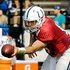 John P. Cleary | The Herald Bulletin<br /> Colts practice Saturday 8/2/14.Colts quarterback Andrew Luck goes through  drills during Saturday's morning practice.