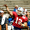 John P. Cleary | The Herald Bulletin<br /> Colts quarterback Andrew Luck goes through passing drills during Saturday's morning practice.