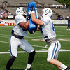 John P. Cleary | The Herald Bulletin<br /> Colts tight ends Dwayne Allen and Jack Doyle battle each other during practice Saturday.