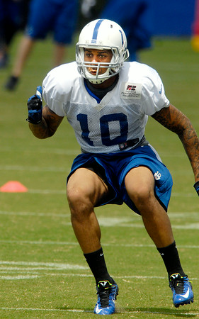 John P. Cleary | The Herald Bulletin<br /> Colts wide receiver Donte Moncrief makes a move during practice Monday.