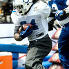 John P. Cleary | The Herald Bulletin<br /> Colts running back Trent Richardson busts through the line during practice Monday.