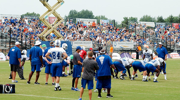 John P. Cleary | The Herald Bulletin<br /> A good crowd showed up for Colts practice Tuesday..