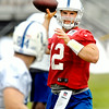 John P. Cleary | The Herald Bulletin<br /> Colts quarterback Andrew Luck eyes his target, tight end Jack Doyle, as he prepares to throw the ball during practice Tuesday afternoon.