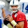John P. Cleary | The Herald Bulletin<br /> Andrew Luck goes through drills with receivers during Tuesday's practice.