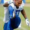 John P. Cleary | The Herald Bulletin<br /> Colts Donte Moncrief goes through stretching exercises at the start of Tuesday's practice.