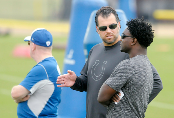 Don Knight | The Herald Bulletin<br /> Colts general manager Ryan Grigson talks to former Colts running back Edgerrin James as he visited practice on Saturday.