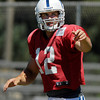 Colts quarterback Andrew Luck goes through a snap count.