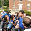 Don Knight/The Herald Bulletin<br /> Andrew Luck talks to the media.