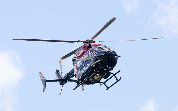 Don Knight/The Herald Bulletin<br /> Reggie Wayne arrives at camp aboard an IU Health Lifeline helicopter.