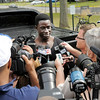 Don Knight/The Herald Bulletin<br /> Daniel Adongo talks to the media.