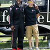 Don Knight/The Herald Bulletin<br /> Reggie Wayne arrived at camp with Matt Sercer aboard a Lifeline helicopter. Sercer lost his foot in a farm accident.