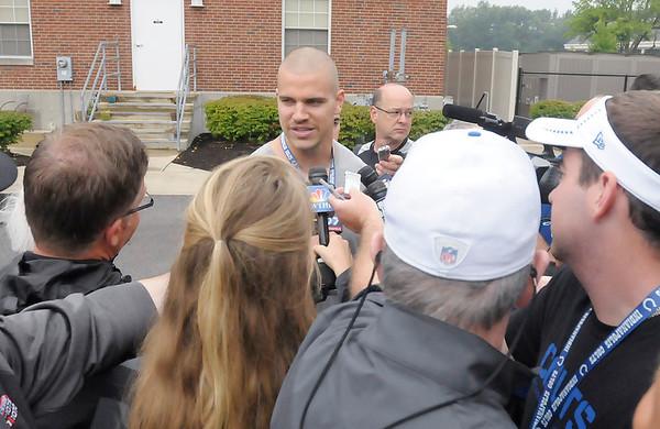 Don Knight/The Herald Bulletin<br /> Cody Fleener talks to the media.