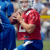 Colts quarterback Andrew Luck goes through drills on the second day of training camp.