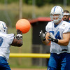Colts offensive tackle Anthony Castonzo, 74,  goes through drills with fellow tackle Winston Justice, 69, on the second day of training camp.