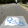 Training camp visitors are greeted by Colts helmets along University Blvd. as they approach AU.