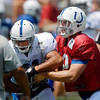 Andrew Luck fakes a handoff to Donald Brown.