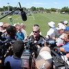 Owner Jim Irsay talks to the meida during the Colts practice at AU on Sunday.