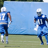Latarrius Thomas (47) and Antoine Bethea (41) run through drills during the Colts practice at AU on Sunday.