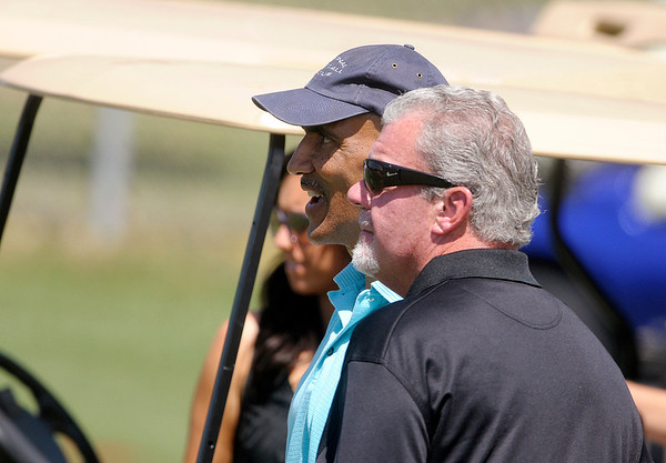 Former coach Tony Dungy and team owner Jim Irsay talk during the Colts practice at AU on Sunday.