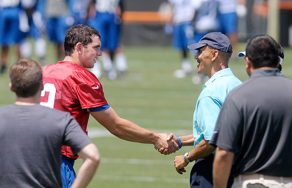 Andrew Luck shakes hands with former coach Tony Dungy during the Colts practice at AU on Sunday.