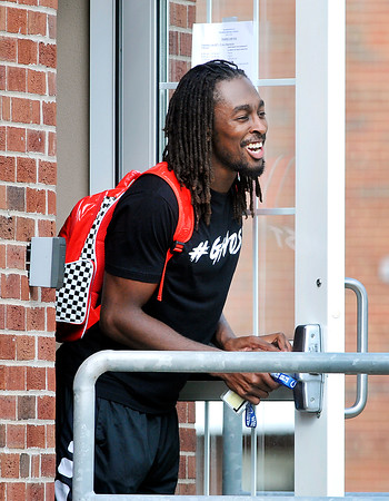John P. Cleary | The Herald Bulletin<br /> Colts WR T.Y. Hilton has a laugh with teammates as he enters the players dorm.