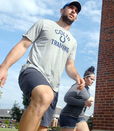John P. Cleary | The Herald Bulletin<br /> Colts QB Andrew Luck reports to training camp Tuesday morning.