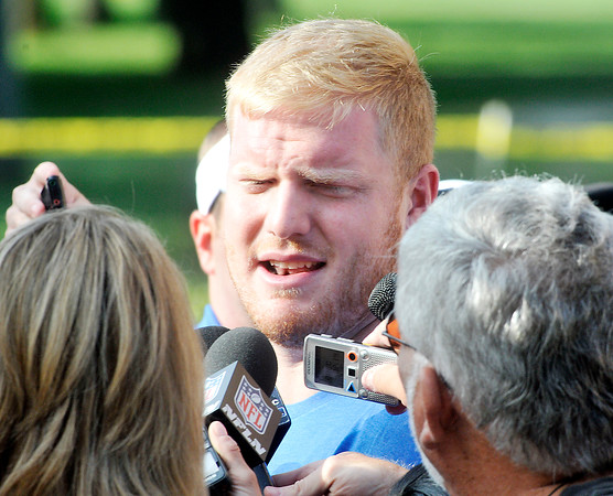 John P. Cleary   The Herald Bulletin<br /> Colts Jack Mewhort talks with the media after arriving at training camp.
