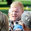 John P. Cleary | The Herald Bulletin<br /> Colts Jack Mewhort talks with the media after arriving at training camp.