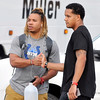 John P. Cleary | The Herald Bulletin<br /> Colts players Edwin Jackson and Stephen Morris greet each other as they arrive at training camp Tuesday.