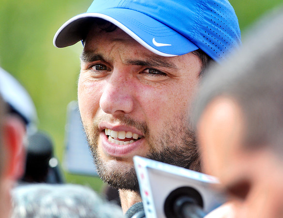 John P. Cleary | The Herald Bulletin<br /> Colts QB Andrew Luck talks with the media after arriving at training camp.
