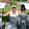John P. Cleary | The Herald Bulletin<br /> Colts punter Pat McAfee greets a Colts staffer as he reports to training camp Tuesday at AU.