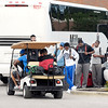 John P. Cleary | The Herald Bulletin<br /> Colts players wait for another cart as they arrived to camp on this motor coach.