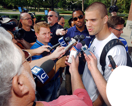 Rookie tight end Coby Fleener talks to the media after reporting to Colts training camp Saturday.