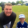 Logan Sumpter, son of Shane and Stephanie, was excited to get his picture taken with Pat McAfee at Colts camp on Friday. He also got his hat signed and Pat was awesome! Go Colts!<br /> <br /> Photographer's Name: Stephanie Sumpter<br /> Photographer's City and State: Lapel, Ind.
