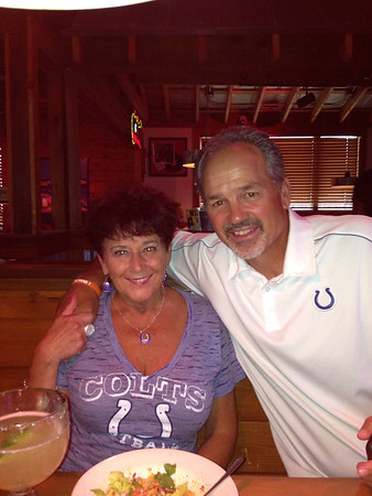 With Coach Chuck Pagano, August 7, 2013.<br /> <br /> Photographer's Name: Carol Ledford<br /> Photographer's City and State: Anderson, Ind.