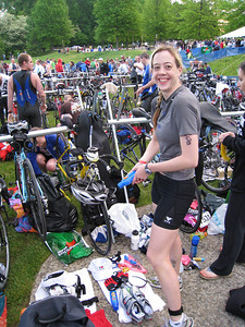 Michele also showing off her immaculately organized transition area (we'll have to get angry at Mellow Yellow later on...)