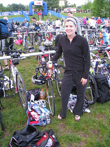 Triathlon morning!  Aimee showing off her immaculately organized transition area (editors note: love how her socks are neatly folded)