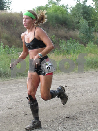 Mya Lee close to finish line at the REC sponsored Mudzilla 5K run/obstacle course at the Mineral City Speedway south of Fort Dodge.