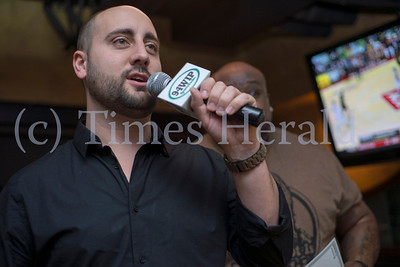 Marc Farzetta of 94.1 WIP Sports Radio acted as the master of ceremonies for the Wing Bowl 22 preliminary round at PJ Whelihan's in Blue Bell. Rick Kauffman/Times Herald Staff