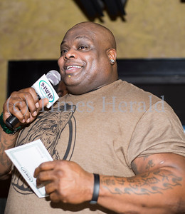 Former Philadelphia Eagles defensive tackle and current 94.1 WIP Sports Radio host Hollis Thomas was in attendance for the Wing Bowl 22 qualifier at PJ Whelihan's in Blue Bell. Rick Kauffman/Times Herald Staff