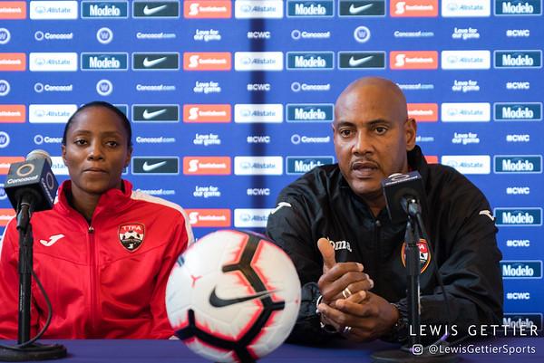 Trinidad & Tobago forward Tasha St. Louis (10) and Trinidad & Tobago head coach Shawn Cooper