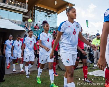 Panama midfielder Kenia Rangel (7), Panama midfielder Katherine Castillo Macias (4), and Panama midfielder Aldrith Quintero (6)