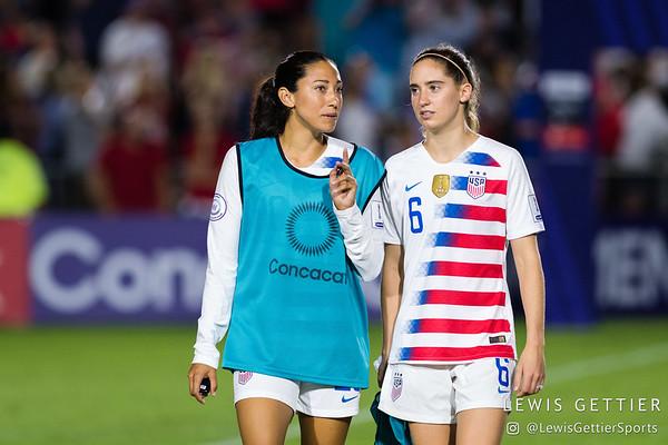 United States forward Christen Press (20) and United States midfielder Morgan Brian (6)