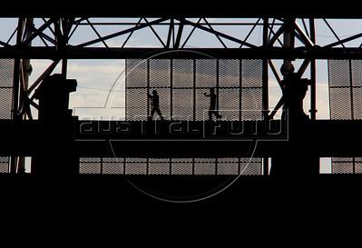 Workers at the Castelao Stadium in Fortaleza, Brazil. The stadium is site of both the Confederations Cup 2013 and World Cup 2014. (Australfoto/Douglas Engle)