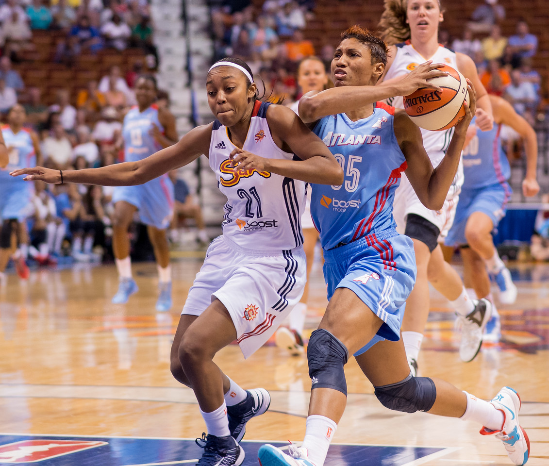 Atlanta Dream versus the Connecticut Sun at Mohegan Sun Arena in Uncasville, CT on September 11, 2013. Photo by Chris Poss. Copyright 2013 Chris Poss.