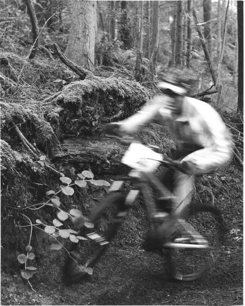 This is a tight, uphill turn nearly at the end of a long, steep climb. Many riders stalled out in this turn - I usually fall over backwards here. This rider made in through very smoothly. (HP5 film on tripod)