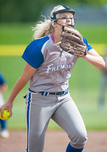 Fremont's Kierstyn Ketchell (9) pitches against Copper Hills during the softball game Thursday in Plain City On May 18, 2017. Fremont High School falls to Copper Hills 10-9.